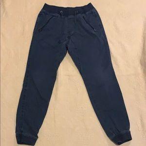 Navy blue jean joggers